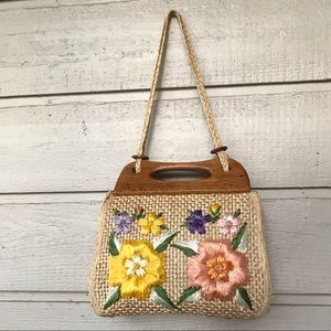 Vintage rattan Windby Mexican straw handbag purse